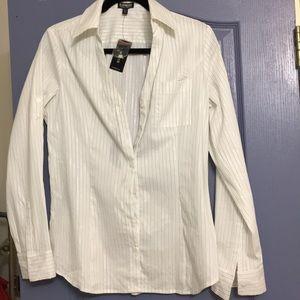Express Essential Stretch Button Down Shirt. M